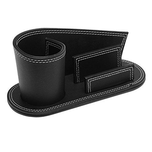 Modern Multipurpose Black Leatherette Desktop Organizer w/ Pencil Holder & Business Card Slot - MyGift Photo #3