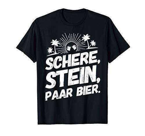 Mallorca Malle Schere Stein Bier Lustige Sprüche T-Shirt
