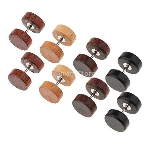 IPOTCH 4 Paar Holz Ohrringe hölzerne Mini Ohrringe kleine runde Holz Ohrstecker Damen Männer Ohrstecker Holzschmuck