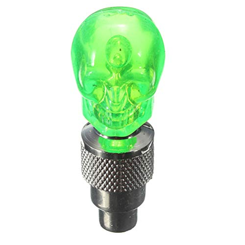 NO LOGO X-Baofu, 2 Stücke Fahrrad Rad Sprach Reifen Ventilkappe Schädel Form Motorrad Auto Neon LED-Licht Lampe 4 Farben (Farbe : Grün)
