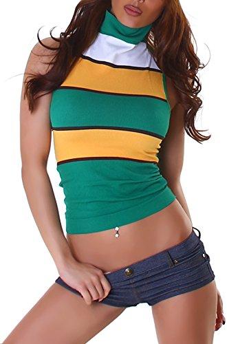 Voyelles - Camiseta sin mangas para mujer, diseño de flores, cuello de mandarina, corte de mandarina, corte fino, elástico, sin mangas (30/32/34/36) verde Talla única
