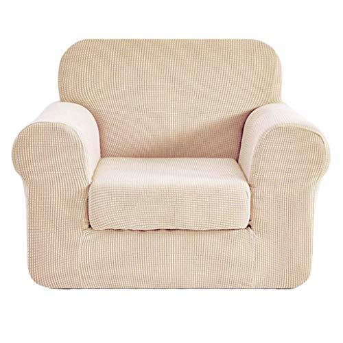 perfk Jacquard Sofaüberwurf Sofaüberzug Sofahusse Sofabezug Stretch Husse für Ohrensessel TV Sessel Fernsehsessel Ohrenbackensessel - Weiss