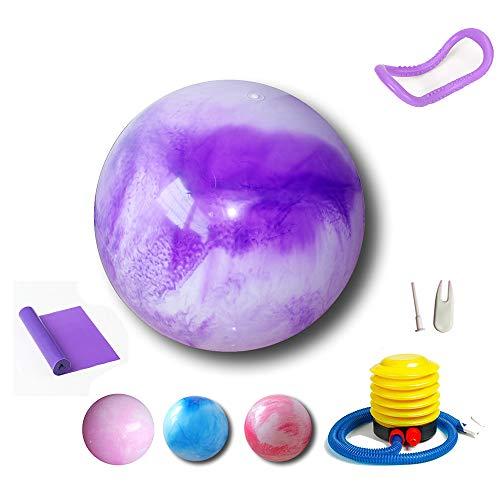 ForwardLin Gymnastikball Pilates Ball 55cm / 65cm / 75 cm inkl. Pumpe Anti-Burst Sitzball für Yoga Exercise Fitness Physiotherapie (4 Farben)+ Fitnessband+Yoga-Ring