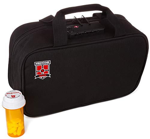 Medicine RX Safe MTB-1 Medication Travel Bag, Black with logo, 10.2 x 7.5 x 1.6 inches