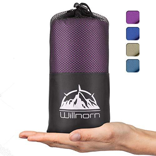 WILLNORN 2in1 Hüttenschlafsack aus Mikrofaser, mit durchgängigem Reißverschluss: Leichter Komfort Reiseschlafsack und XL Reisedecke in Einem(95 * 220 cm)(Lila)