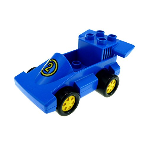 1 x Lego Duplo Auto Rennwagen blau mit Nr. 2 Rennauto