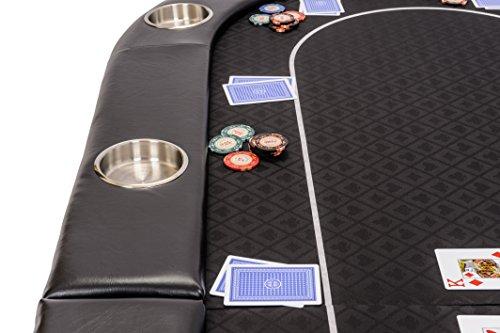Riverboat Faltbare Pokerauflage mit Schwarzem wasserabweisenden Stoff und Tasche – Pokertisch 200cm - 3