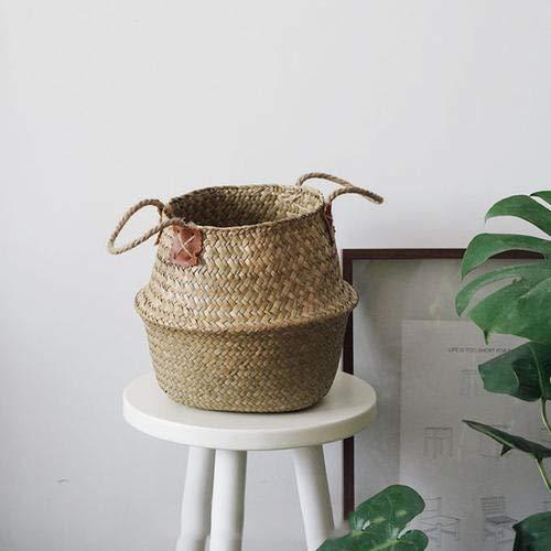 Natürliches Seegras gewebtes Bauchkorb, Goodchanceuk 3/Set Blumentopf Korb mit Griff Garten Wäschekorb Container Home - 6