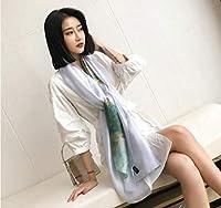 XinQing-ファッションスカーフ シルクスカーフレディース秋冬 ワイルドデュアルユース大ショール (Color : White)