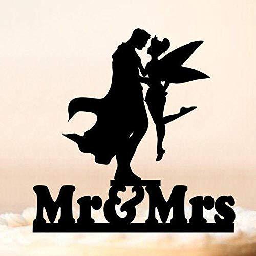 Yoin Gepersonaliseerde Superman en Fee Bruiloft Taart Topper, Mr&Mrs Bruiloft Taart Decor, Unieke Jubileum Topper, Acryl Spiegel Goud