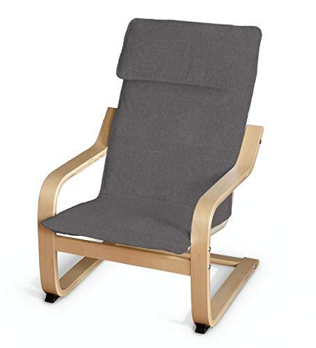 Dekoria Poäng Kissen für den Kindersessel Sesselhusse passend für IKEA Modell Klappsta dunkelgrau