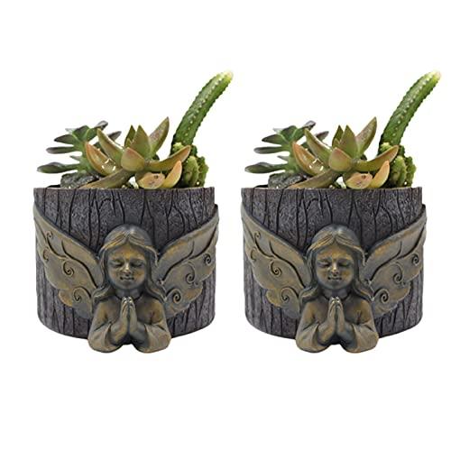 FAFAD - Vaso da fiori creativo per piante grasse e grasse in stile retrò, decorazione in stile 3D, in resina, ideale come regalo per ufficio, soggiorno