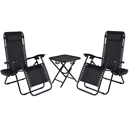 LAJOSON Set of 2 Adjustable Folding Steel Mesh Zero Gravity Lounge Chair...