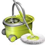 Fregona giratoria mopa Acero inoxidable Negrita vuelta de mopa con Cubo, lavado rápido deshidratación fregona, 47x28x27.5cm Movable sistema de limpieza de suelo con ruedas Palanca for el hogar verde f