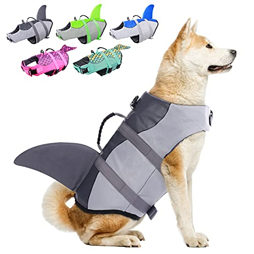 Dog Life Jackets, Ripstop Pet Floatation Life Vest for Small, Middle, Large Size Dogs, Dog Lifesaver Preserver Swimsuit for Water Safety at The Pool, Beach, Boating (XX-Large, Grey Shark)