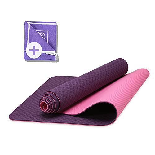 Karuna Yogamatte (186x61x0,6cm) inkl. Yoga Mikrofaser Handtuch & Tragegurt - Gymnastikmatte gepolstert & rutschfest für Fitness Pilates Yoga - Sportmatte für Zuhause