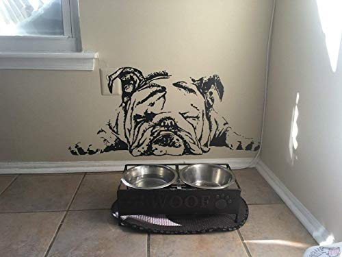 English Bulldog Decal English Bulldog Sticker Dog Sticker Dog Decal Lazy Dog Sleeping Dog Cute Puppy Wall Art Stickers Tr259 (6' x 13.2')