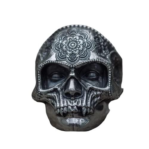 VKING Ring Sugar Skull Ring Mens Mandala Flower Santa Muerte Biker Jewelry, 316L Stainless Steel Color Unique Silver (13)