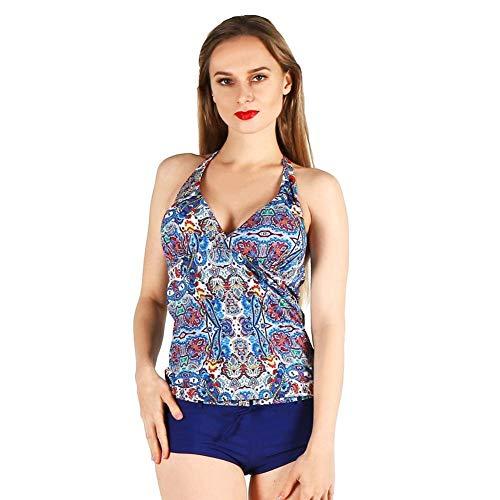 Ericcay Sfilate Swimwear Donna Nylon Elegante Stampa Type Deep Split V Unico Collo Farfalla Nodo Conservatore Due Pezzi Costume da Bagno Donna Beach Costume da Bagno (Color : Blu, Taglia Unica : L)