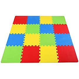 "BalanceFrom Kid's Puzzle Exercise Play Mat with EVA Foam Interlocking Tiles 3 16-Tile: item comes with 16 tiles in 4 colors and 24 end borders (6 boarders each color). each tile measures 12""x12""x0.4"". each square = 1 square foot; total coverage 16 square feet (4' x 4' area) 36-Tile: item comes with 36 tiles in 9 colors and 54 end borders (6 boarders each color). each tile measures 12""x12""x0.4"". each square = 1 square foot; total coverage 36 square feet (6' x 6' area) Non-toxic, tested free of lead, bpa's and Phthalate; meet or exceed the US Regulated toy safety standards. Easy to clean with damp cloth & mild soap. Interlocking feature and lightweight make it very simple to assemble"