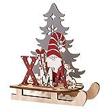 KERDEJAR Adornos de trineo de Navidad con diseño de Papá Noel, decoración de trineo pintado para manualidades, regalo de Año Nuevo, rayas grandes