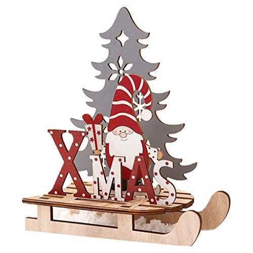 Weihnachtsmann-Schlitten-Ornamente, bemalte Schlitten-Dekorationen, DIY, Holz-Puzzle, schwedisch, handgefertigt, Tomte Santa, Weihnachtspuppendekoration für Weihnachten