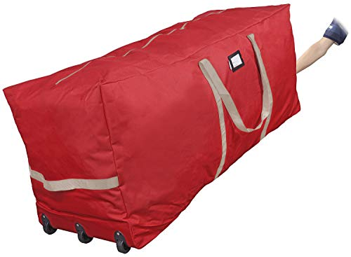 """ProPik Christmas Tree Storage Bag Rolling, Fits Up to 9 ft. Xmas Tree, 25"""" Height X 20"""" Wide X 60"""" Long, Extra Large Heavy Duty Storage Container with Wheels and Handles, 600D Oxford (Red)"""