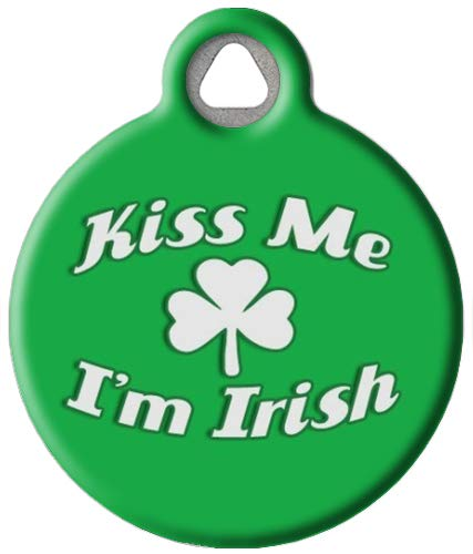 Dog Tag Art Kiss Me I'm Irish - Custom Pet ID Tag for Dogs and Cats Large Size