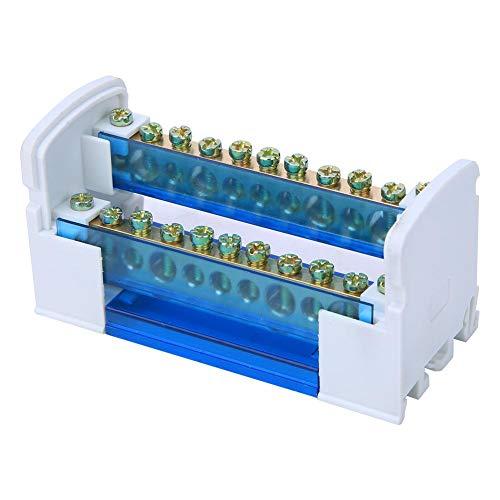 Morsettiera di distribuzione, 500V 125A Scatola di distribuzione morsettiera Morsettiere Din Rail monofase a 2 livelli con coperchio antipolvere trasparente 211