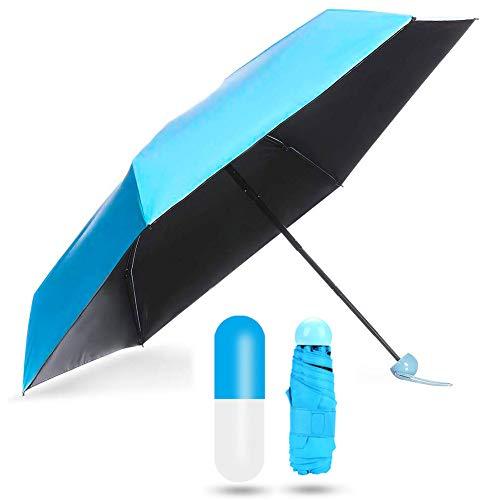 Mini Paraguas Plegable -WENTS Paraguas de Viaje 210T Paraguas Portátil en Forma Cápsula Ligero Compacto Plegable Doble Capa Bloqueador Solar Protección UV UPF 50+ Resistente la Lluvia Azul Cielo