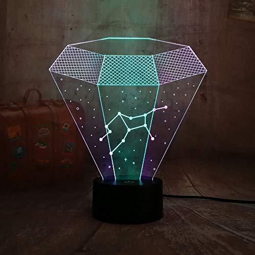 3D illusie nachtlampje LED sterrenbeeld licht voor kinderen kinderen decoratie verjaardag cadeau 7 kleurwisseling met afstandsbediening USB powered home slaapkamer decoratie