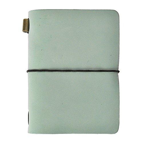 ZLYC Reisetagebuch, handgemacht, Leder, Vintage-Stil, nachfüllbar, Passgröße. lichtgrün