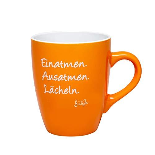 Lepajo Glückstasse mit Spruch: Einatmen. Ausatmen. Lächeln. Farbenfrohe Tasse, Kaffeetasse oder Teetasse, das besondere Geschenk, Geschenk-Tasse.