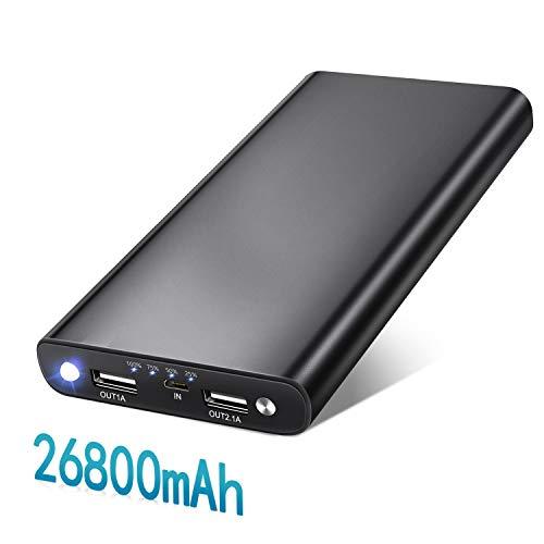 BINKE Powerbank 26800mAh, Externer Akku 2 USB Ports Output Schnellladung mit 4 LEDs Tragbares Ladegerät Externer Batterie für iPhone, Samsung, Huawei, iPad und mehr