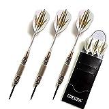 ZHANGDONG Handmade 3pcs / Set Profesional Dardos 24g 25g Negro Color de Oro Punta de Acero Dardos con los Dardos Ejes de Aluminio Training Only 3 (Color : Golden S)