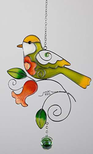 dekojohnson Moderne Fensterdeko Vogel hängend Fensterhänger Dekohänger Hängedeko Glas-Bild Tiffany-Art Bunt 24cm