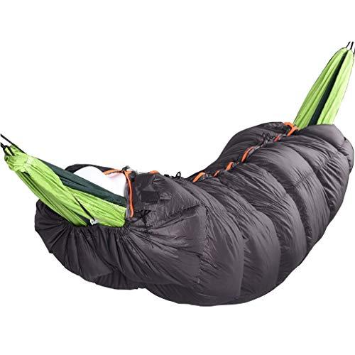 Nosterappou Hamac chaud à double fermeture à glissière, hamac de sac de couchage extérieur chaud et confortable en automne et en hiver, profitez du temps sauvage agréable, tissu extérieur en nylon lég