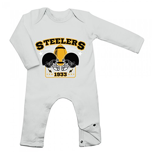 Shirt Happenz Steelers Babybody | 1933 | Super Bowl | American Football | Langarm | Langärmliger Strampler, Farbe:Weiß (White BZ13);Größe:3-6 Monate