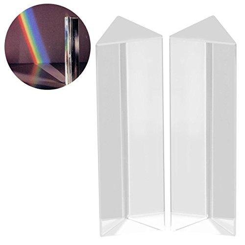 UEETEK 2 Stück Kristall optischen Glas dreieckigen Prisma für Unterricht in Physik Lichtspektrum,10 * 3 * 3 CM