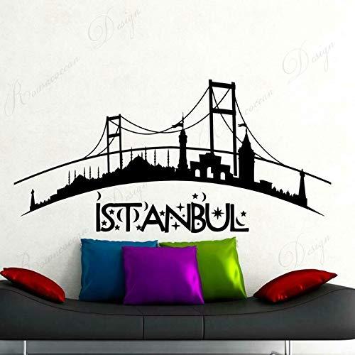 Turquía Estambul Ciudad Pegatina de Pared Vinilo decoración del hogar Sala de Estar Dormitorio calcomanía Paisaje decoración Interior Papel Pintado