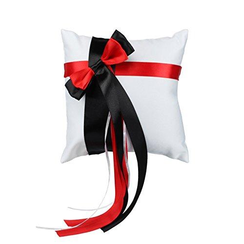 vlovelife 20,3x 20,3cm weiß Hochzeit Party Ring Kissen mit Satinband Decor Überwurf der Kissen schwarz / rot
