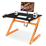 YIJIN Computer Desk Gaming Table Z Shaped Gamer Workstaton with Large Ergonomic Surface and Heavy Duty Construction for Home or Office, Gaming PC Desk, Orange and Black
