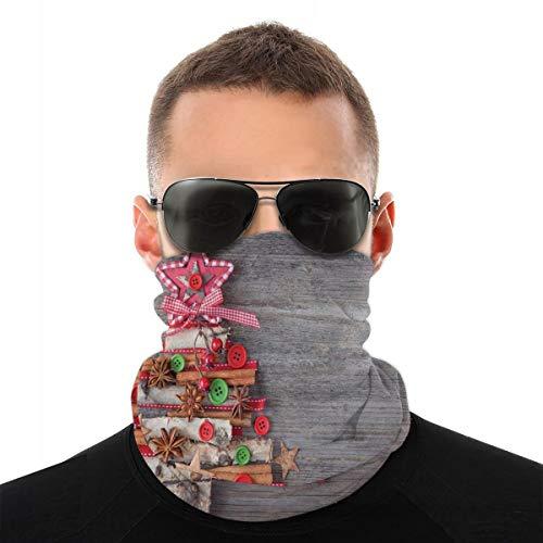 Cubierta de la cara,Polaina para el cuello,Concepto abstracto del árbol del estilo de tela con botones Estrella Topper Fondo de madera, Bandana, Headwear