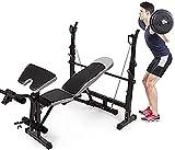 Equipo de músculos abdominales Banco de pesas con mancuernas con extensión de piernas y curl de piernas, banco de entrenamiento con barra para pesas, banco de mancuernas con soporte para prensa, equip