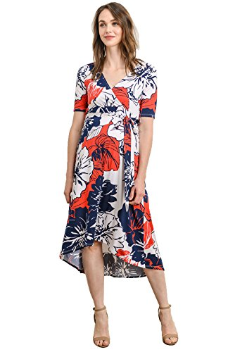 Product Image of the Women's Maternity Wrap Dress Midi Length with Waist Belt (Medium, Navy/White)