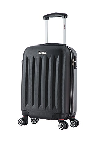 InUSA Philadelphia Hardside 19 Inch Carry-On Spinner Luggage with Ergonomic Handles, Travel Suitcase with Four Spinner Wheels and Studs, Black