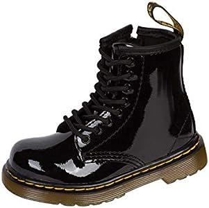 Dr. Martens INFANTS Patent BLACK - Zapatos con cordones de cuero infantil, Negro (Black), 26