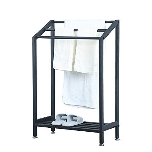 MBQQ Industrial Indoor/Outdoor Free Standing Towel Rack for Bathroom,3 Tier Metal Towel Bar Stand with Shelf,Blcak