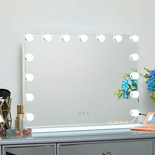 DAYU Hollywood Espejo de maquillaje con luz LED 15 Espejo tocador iluminados con control táctil 3 modos de color Espejo de maquillaje de mesa o de pared con puerto de carga USB.