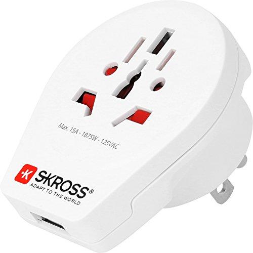 SKROSS World to USA USB Charger: Reiseadapter für Reisen in Länder, die den amerikanischen Standard verwenden; inklusive integriertem USB-Port (2100 mA)